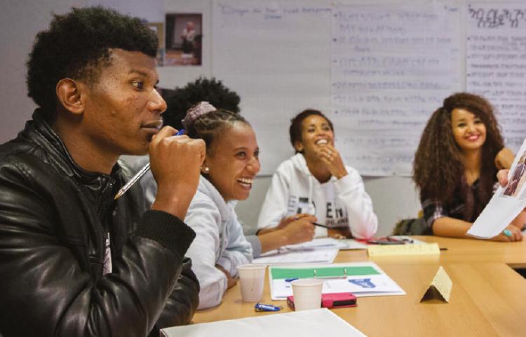 Eritrese asielzoekers tijdens training VOORwerk
