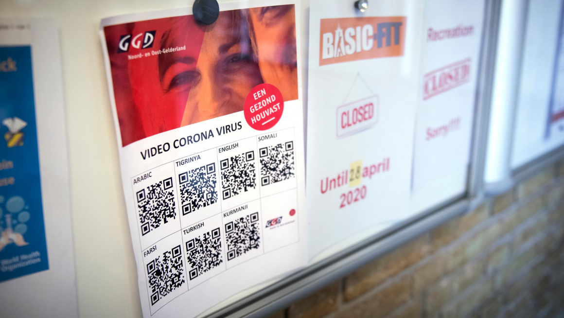 Poster over coronavirus in het azc