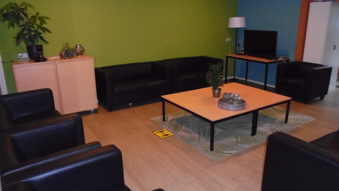 Woonkamer met tafel, zwarte banken, vloerkleed, kastje, tv en groene, blauwe en rode muren