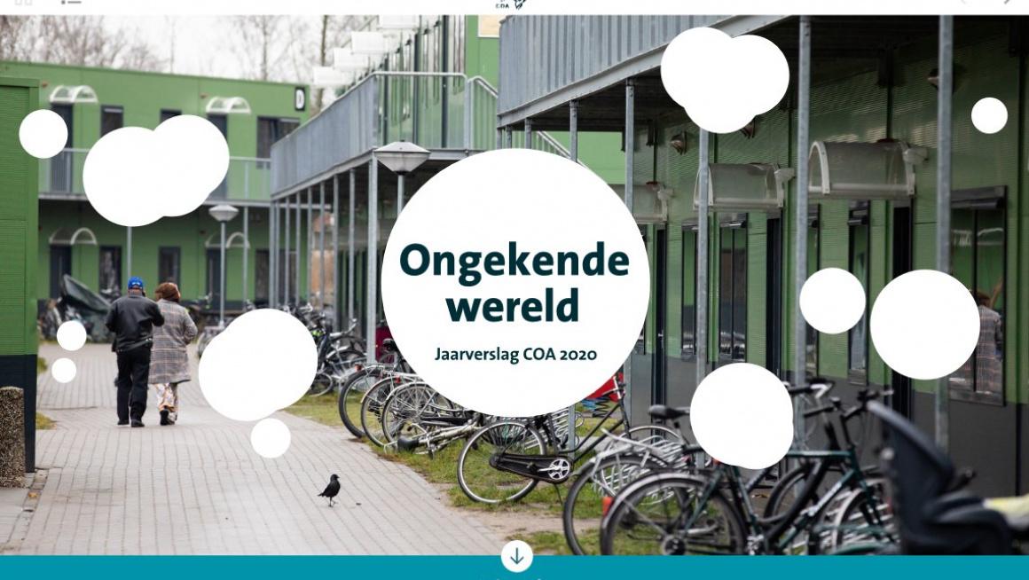 De cover van het jaarverslag 2020 van het COA. Titel is 'Ongekende wereld'.