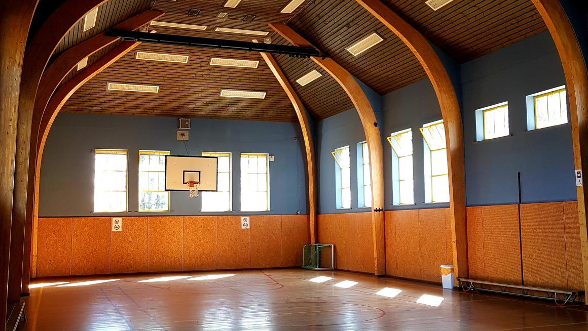Sportzaal met houtenvloer met strepen in rood en blauw, muren in geel en blauw en een basket aan de muur