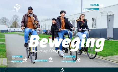 De cover van het jaarverslag met fietsende asielzoekers op het azc in Rotterdam
